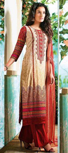 421984: Cotton #SalwarKameez - Machine #Embroidery, Resham, Thread.  #Prints #EarthenTone #CottonFabric #partywear #onlineshopping #sale #eveningwear
