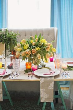 Hop to It! A DIY Colorful Easter Dinner Party Setting