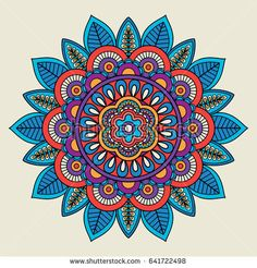 Round floral bright colored motif. illustration