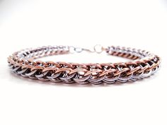 Antique Silver Chainmail Bracelet with Aged by SerenityInChains, $25.00