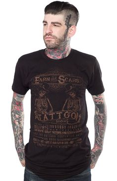 SERPENTINE EARN YOUR SCARS T SHIRT Flesh Modification Fair! That just sounds so awesome! You can earn your scars also at the tattoo show! This vintage flyer is screened onto a black cotton t-shirt with a bronze ink! $26.00 #serpentine #tattoo