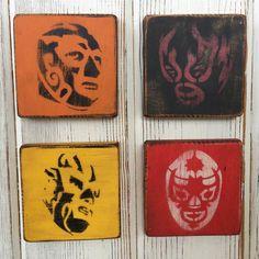 Mexican Wrestler Graffiti Mini Painting Lucha Libre Stenciled Art Retro Set 6 Stencil Art, Stencils, Mexican Restaurant Decor, Mexican Wrestler, Mini Paintings, Artsy Fartsy, Graffiti, Mexico, Taco