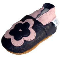 Chaussures de bébé en cuir souple de fleur rose et marine, Dotty Fish filles - 0-6 mois