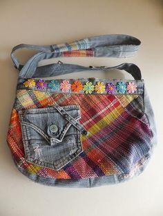 手織り素材と古着ジーンズをコラボさせたバッグ。自分用★|ハンドメイド、手作り、手仕事品の通販・販売・購入ならCreema。