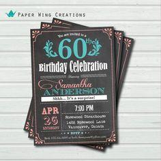 60th birthday invitation woman. Vintage Chalkbaord Surprise 60th birthday. Coral Aqua, turquoise, teal, tiffany blue printable AB29 on Etsy, $15.00