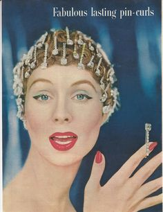 1956 - TRIFARI - ADS Fabulous lasting pin-curls Satin Set Rhinestone Hair Clips Bobby Pins on Suzy Parker #vintage #ad by ChicTiques