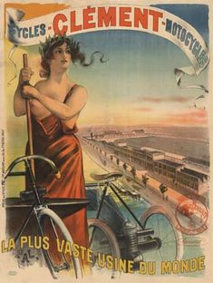 Vintage♥ Bicycle Cycles Clement Poster