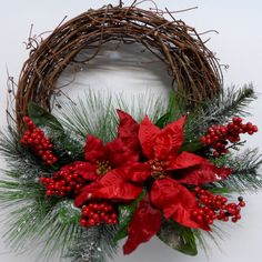 Christmas Grapevine Wreath Red Poinsettia by BeautifulHomeAccents - Christmas Wreaths & Door Decor 2 Grapevine Christmas, Christmas Door Wreaths, Holiday Wreaths, Grapevine Wreath, Etsy Christmas, Winter Wreaths, Moss Wreath, Christmas Angels, Christmas Christmas