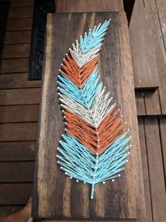 Items similar to Feather string art on Etsy String Art Templates, String Art Patterns, Crafts To Do, Arts And Crafts, Diy Crafts, Nail String Art, Nail Art, Wood Nails, Thread Art