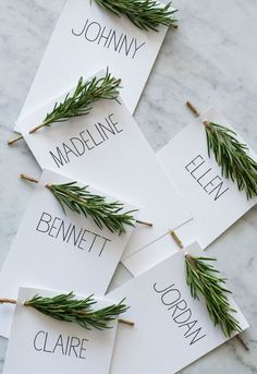 Decorate your rustic wedding with nature-inspired place cards.