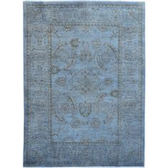 Hand-knotted Silver Wash Oushak Rug Area Rug