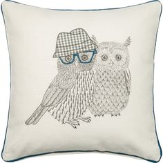 A charming addition to your living room sofa or master suite bed, this lovely cotton pillow features an embroidered owl design. Produ...