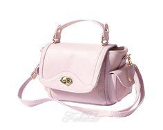 Small Italian Genuine Leather Pink Handbag/Cross Body Bag with Shoulder Strap