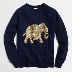 J.Crew Factory metallic elephant sweatshirt ($40) ❤ liked on Polyvore featuring tops, hoodies, sweatshirts, shirts, sweaters, j crew sweatshirt, j crew tops, blue top, elephant print top and elephant tops