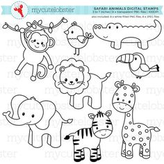 Safari Animals Digital Stamps outlines line art giraffe Clipart, Digital Stamps, Digital Scrapbooking, Animal Outline, Safari Animals, Sea Creatures, Line Art, Giraffe, Coloring Pages