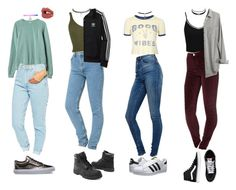 """""""90s Outfits"""" by stellaluna899 ❤ liked on Polyvore featuring Miss Selfridge, ASOS, American Apparel, Topshop, adidas Originals, RVCA, Charlotte Tilbury, Wet Seal, Madewell and Timberland"""