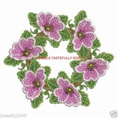 PRIMROSE FLOWER WREATH - SPECTACULAR - 2 EMBROIDERED HAND TOWELS by Susan                                  1