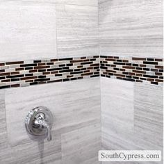 Shower Tile Ideas: Shower Tile Ideas:  Marble with Glass Accents