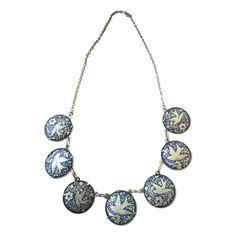 Vintage Floral Bird Demascene Necklace - 1970s - $135