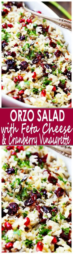 Orzo Pasta Salad with Feta Cheese and Cranberry Pomegranate Vinaigrette Recipe - This cheesy orzo pasta salad is full of bright and colorful winter flavors tossed with a delicious dose of Cranberry Pomegranate Vinaigrette. It's also the perfect side dish to share at your next Holiday gathering! #pastafoodrecipes
