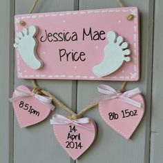 Baby birth details plaque Personalised baby gift and Birth Keepsake sign tiny feet Baby birth d. Diy Baby Gifts, Personalized Baby Gifts, Newborn Baby Gifts, Girl Gifts, Baby Shower Gifts, Country Baby Names, Decoration Buffet, Baby Door Hangers, Baby Frame