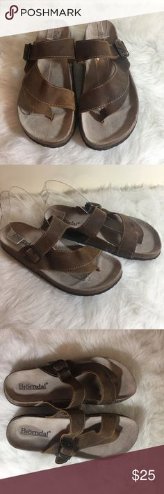 Bjorndal Brown Leather And Cork Sandals 8 Bjorndal brown leather sandals  Adjustable Buckle  Wrap toe  Leather and cork  8 bjorndal Shoes Sandals