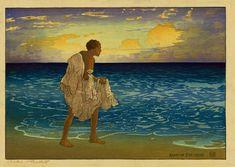 File:'Hawaiian Fisherman', woodblock print by Charles W. Bartlett ...