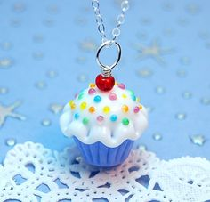 Blue and White Sprinkle Lampwork Cupcake by aStudiobytheSea