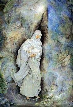 Imam Ali (a.s.) born inside the Kaabah - Fresh Persian Painting - Farshchian مصغر