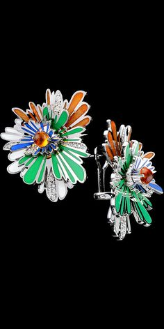 Earrings 9626 Collection: Colorful carnival  18K white gold, orange sapphire 0,85 ct, diamonds, enamel.