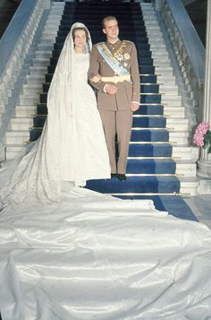 Don Juan Carlos of Spain and Princess Sophia of Greece and Denmark, during their wedding in Athens, Greece, May Get premium, high resolution news photos at Getty Images Royal Wedding Gowns, Royal Weddings, Princess Wedding Dresses, Dress Wedding, Bridal Dresses, Wedding Ceremony, Roi George, Princess Sophia, Queen Sophia