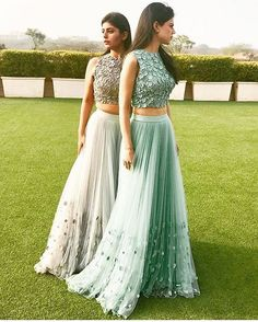 Green and gold Lengha