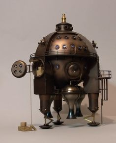 The Celestial Orb Steampunk space ship, based loosely on the Aries from built around a Woolworths solar powered garden light. Steampunk Kunst, Steampunk Design, Steampunk Fashion, Jules Verne, Celestial Sphere, Steampunk Festival, Steampunk Gadgets, Wells, Alternate History