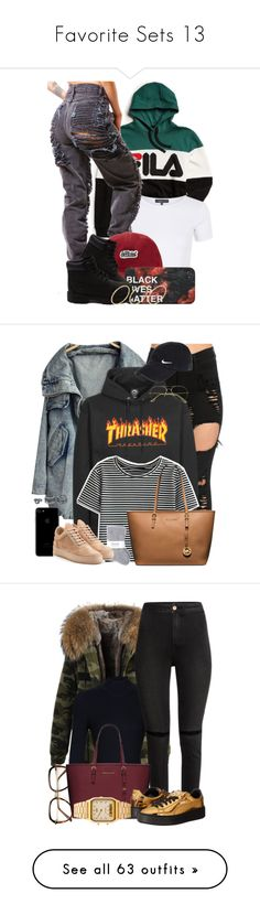 """Favorite Sets 13"" by fingerfckmyswag ❤ liked on Polyvore featuring Fila, Topshop, Forever 21, Timberland, ASOS, WithChic, Johnstons, NIKE, Filling Pieces and MICHAEL Michael Kors"