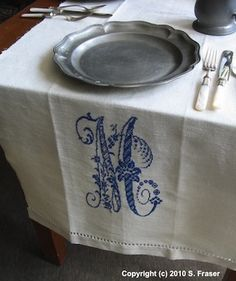 Beautiful Monogram on Recycled Linen                                                                                                                                                      More