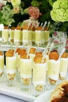 Banana pudding parfait shooters using boxed pudding mix.. Nilla wafers, & Reddi Whip... Serve in individual containers to suit your own style