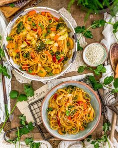 Healthy, satisfying, and nourishing, this bold, oil-free Thai Curry Cabbage Noodle Stir Fry is noodle heaven with a delicious twist. #wholefoodplantbased #vegan #oilfree #glutenfree #plantbased   monkeyandmekitchenadventures.com Veggie Fries, Vegetable Stir Fry, Organic Maple Syrup, Broccoli Stir Fry, Frozen Broccoli, Butter Rice, Chili Garlic Sauce, Curry Dishes, Toasted Sesame Seeds