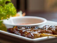 BBQ Pork served with Sweet Chilli Sauce Sweet Chilli Sauce, Chicken Satay, Thai Restaurant, Bbq Pork, Fine Wine, Brighton, Wines, Catering, Vegan
