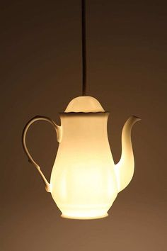 Tea for two, and two for tea. Milk-glass pendant light inspiration.