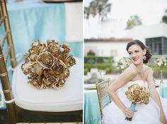 Aqua Wedding Ideas {Classic}   Sarah Bray Photography   Maitland Art Center   Garden Gate Florals   Aqua Peach and Gold Wedding   Gold Bouquet