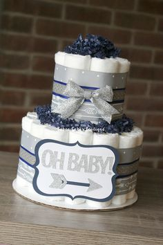 2 Tier OH BABY Arrow Diaper Cake Navy Gray by BabeeCakesBoutique