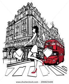 Woman shopping in London -  vector illustration - stock vector