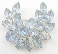 Eisenberg Ice Light Blue Rhinestone Brooch - Garden Party Collection Vintage Jewelry