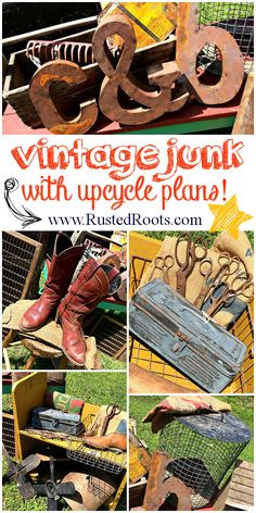 Great Ideas for Upcycling Old Rusty Junk!! #RustedRoots