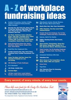 Workplace Fundraising Ideas - Nice list of ideas for raising funds in your workplace. It's from the County Air Ambulance Trust in the UK and the link is to the PDF download. More fun fundraiser event ideas here: www.FundraiserHelp.com/fundraising-ideas/