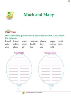 Grade Grammar Determiners Much and Many English Grammar For Kids, English Grammar Worksheets, English Lessons For Kids, English Vocabulary Words, Teaching English, Grammar Practice, Grammar Skills, Teaching Grammar, Grammar Lessons