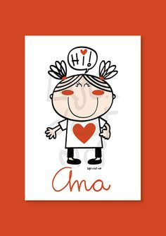 Little girl with a heart in her t-shirt nursery por Lajucestmoi