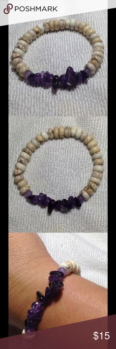 White Howlite Amethyst Stretch Bracelet This gemstone stretch bracelet is made with howlite and natural amethyst. Beautiful for any occasion! PeaceFrog Jewelry Bracelets