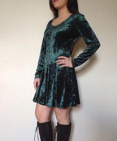Vintage Green Velvet Babydoll Dress by Wadulisi1949 on Etsy, $36.00