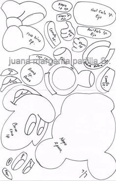 Disney Plush, Disney Diy, Disney Crafts, Baby Disney, Mini Y Mickey, Mickey E Minnie Mouse, Mickey Mouse Coloring Pages, Animal Coloring Pages, Felt Patterns